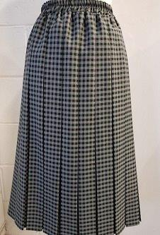 Nicole Lewis Box Pleat Skirt - Grey/Black Gingham Check