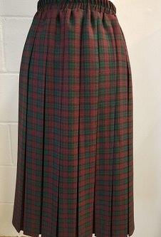 Nicole Lewis Box Pleat Skirt - Wine/Green Tartan Small Check