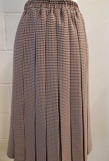 Nicole Lewis Box Pleat Skirt - Brown/Beige/Rust Dogtooth