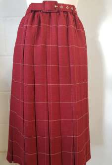 Nicole Lewis Box Pleat Skirt - Wine