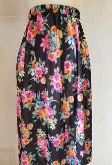 Nicole Lewis Elastic Waist Flared Skirt - Black/Multi Floral