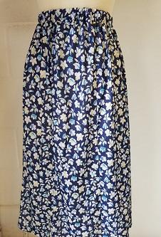 Nicole Lewis Elastic Waist Flared Skirt - Navy/Blue/White Floral