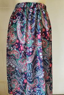 Nicole Lewis Elastic Waist Flared Skirt - Navy/Red Paisley