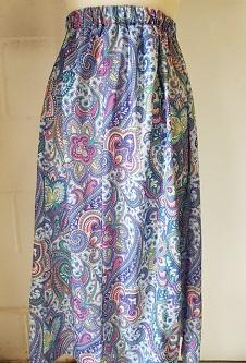 Nicole Lewis Elastic Waist Flared Skirt - Blue Paisley