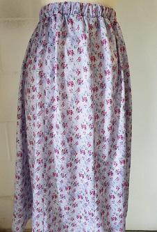 Nicole Lewis Elastic Waist Flared Skirt - Grey/Pink Floral
