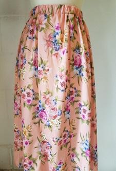 Nicole Lewis Elastic Waist Flared Skirt - Peach Floral
