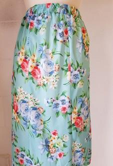 Nicole Lewis Elastic Waist Flared Skirt - Aqua Floral