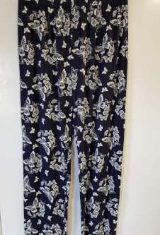 Nicole Lewis Navy/White Casual Patterned Trousers - Butterfly