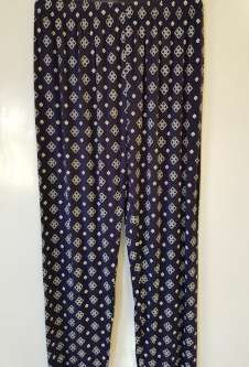 Nicole Lewis Navy/White Casual Patterned Trousers - Cubes