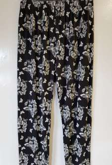Nicole Lewis Black/White Casual Patterned Trousers - Butterfly