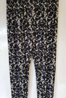 Nicole Lewis Black/White Casual Patterned Trousers - Floral 3