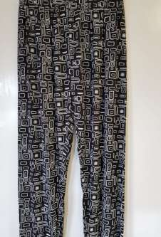 Nicole Lewis Black/White Casual Patterned Trousers - Squares