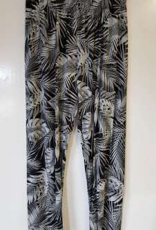 Nicole Lewis Black/White Casual Patterned Trousers - Leaves