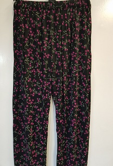 Nicole Lewis Casual patterned trousers - Black/Cerise Floral
